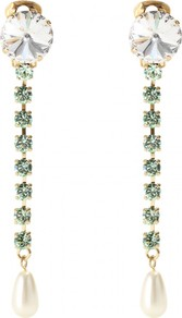Ara Crystal Bead Embellished Earrings - predominant colour: emerald green; occasions: evening, occasion; style: drop; length: long; size: small; material: chain/metal; fastening: pierced; finish: plain; embellishment: jewels; secondary colour: clear