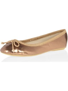Rose Gold Bow Ballet Shoe - predominant colour: gold; occasions: casual, evening, work, holiday; material: faux leather; heel height: flat; toe: round toe; style: ballerinas / pumps; trends: metallics; finish: metallic; pattern: plain; embellishment: bow