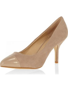 Light Mink Toe Cap Mid Courts - predominant colour: champagne; occasions: evening, work, occasion; material: fabric; heel height: high; heel: stiletto; toe: pointed toe; style: courts; finish: plain; pattern: plain; embellishment: toe cap