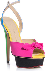 Serena Shoes - predominant colour: hot pink; secondary colour: yellow; occasions: evening, occasion, holiday; material: leather; ankle detail: ankle strap; heel: platform; toe: open toe/peeptoe; style: standard; trends: fluorescent; finish: plain; pattern: colourblock; embellishment: bow; heel height: very high