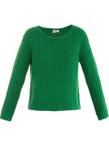 Sapata Loose Knit Sweater - neckline: round neck; pattern: plain; style: standard; predominant colour: emerald green; occasions: casual; length: standard; fibres: cotton - 100%; fit: standard fit; sleeve length: long sleeve; sleeve style: standard; texture group: knits/crochet; pattern type: knitted - big stitch