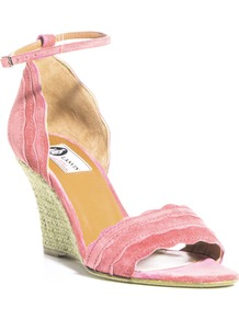 Suede Scalloped Edge Sandals - predominant colour: pink; secondary colour: pistachio; occasions: casual, evening, occasion, holiday; material: suede; heel height: mid; ankle detail: ankle strap; heel: wedge; toe: open toe/peeptoe; style: standard; finish: plain; pattern: plain