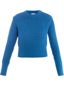 Lia Waffle Knit Sweater - pattern: plain; style: standard; predominant colour: diva blue; occasions: casual, work; length: standard; fibres: cotton - 100%; fit: slim fit; neckline: crew; sleeve length: long sleeve; sleeve style: standard; texture group: knits/crochet; pattern type: knitted - big stitch