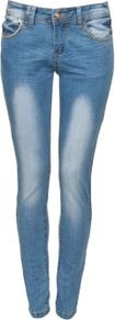Blue Faded Denim Chain Pocket Skinny Jeans - style: skinny leg; length: standard; pattern: plain; waist: low rise; pocket detail: traditional 5 pocket; predominant colour: denim; occasions: casual; fibres: cotton - stretch; jeans detail: shading down centre of thigh; texture group: denim; pattern type: fabric