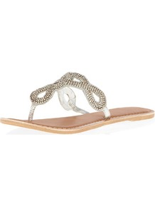 Silver Leather Bling Sandals - predominant colour: silver; occasions: casual, evening, holiday; material: leather; heel height: flat; embellishment: crystals; heel: standard; toe: toe thongs; style: flip flops / toe post; trends: metallics; finish: metallic; pattern: plain