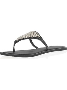Black Leather Bling Sandals - predominant colour: black; occasions: casual, evening, holiday; material: leather; heel height: flat; embellishment: crystals; heel: standard; toe: toe thongs; style: flip flops / toe post; finish: plain; pattern: plain