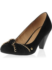 Black Knot Detail Courts - secondary colour: gold; predominant colour: black; occasions: evening, work, occasion; material: fabric; heel height: mid; heel: cone; toe: round toe; style: courts; trends: metallics; finish: plain; pattern: plain; embellishment: chain/metal