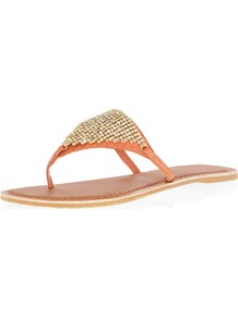 Coral Leather Bling Sandals - predominant colour: coral; occasions: casual, evening, holiday; material: leather; heel height: flat; embellishment: crystals; heel: standard; toe: toe thongs; style: flip flops / toe post; finish: plain; pattern: plain
