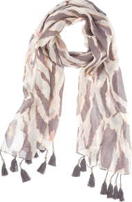 Pointelle Scarf, Grey/Silver - secondary colour: white; predominant colour: mid grey; occasions: casual, evening, work, holiday; type of pattern: standard; style: regular; size: standard; material: fabric; embellishment: tassels; pattern: animal print