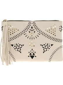 Floral Punchout Clutch Bag - predominant colour: ivory; occasions: evening, occasion, holiday; type of pattern: heavy; style: clutch; length: hand carry; size: standard; material: faux leather; embellishment: tassels; finish: plain; pattern: patterned/print