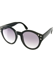 Studded Round Sunglasses - predominant colour: black; occasions: casual, holiday; style: round; size: large; material: plastic/rubber; embellishment: studs; pattern: plain; finish: plain