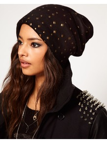Mixed Stud Boyfriend Beanie - predominant colour: black; occasions: casual; type of pattern: small; style: beanie; size: small; material: fabric; pattern: plain; embellishment: studs