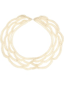 Pearl Collar - predominant colour: ivory; occasions: evening, work; style: choker/collar; length: mid; size: large/oversized; finish: plain; embellishment: pearls