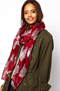 Skull And Floral Scarf - secondary colour: white; predominant colour: burgundy; occasions: casual, holiday; type of pattern: standard; style: regular; size: standard; material: fabric; pattern: patterned/print