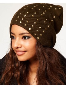 Mixed Stud Boyfriend Beanie - predominant colour: chocolate brown; secondary colour: khaki; occasions: casual; type of pattern: light; style: beanie; size: standard; material: fabric; pattern: plain; embellishment: studs