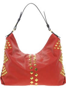 Studded Hobo Bag - predominant colour: true red; secondary colour: true red; occasions: casual, work; type of pattern: standard; style: shoulder; length: handle; size: standard; material: faux leather; embellishment: studs; pattern: plain; finish: plain