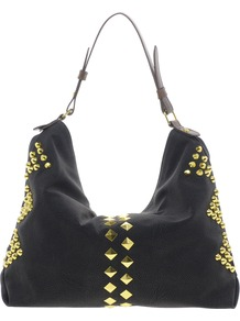 Studded Hobo Bag - secondary colour: gold; predominant colour: black; occasions: casual, evening, work; type of pattern: light; style: shoulder; length: handle; size: standard; material: faux leather; embellishment: studs; pattern: plain; finish: plain