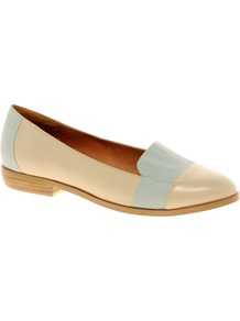 Manhattan Loafers - secondary colour: pale blue; predominant colour: nude; occasions: casual, work, holiday; material: faux leather; heel height: flat; toe: pointed toe; style: loafers; finish: plain; pattern: colourblock