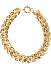 Linked Leaf Necklace - predominant colour: gold; occasions: evening, occasion, holiday; style: choker/collar; length: choker; size: large/oversized; material: chain/metal; trends: metallics; finish: metallic; embellishment: chain/metal