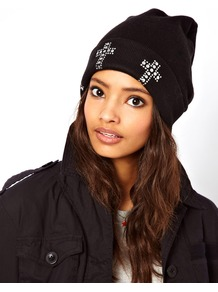 Cross Stud Boyfriend Beanie - predominant colour: black; occasions: casual; type of pattern: light; style: beanie; size: small; material: knits; pattern: plain; embellishment: studs