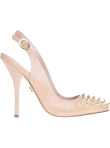 Culprit Leather Slingback Courts - predominant colour: nude; secondary colour: gold; occasions: evening, occasion; material: leather; embellishment: studs; heel: stiletto; toe: pointed toe; style: slingbacks; finish: plain; pattern: plain; heel height: very high