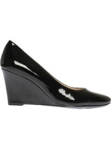 Tinydancer Patent Leather Wedge Courts - predominant colour: black; occasions: casual, evening, work; material: leather; heel height: high; heel: wedge; toe: round toe; style: courts; finish: patent; pattern: plain