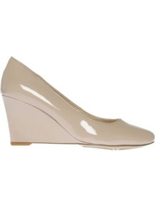 Tinydancer Patent Leather Wedge Courts - predominant colour: nude; occasions: casual, evening, work, occasion, holiday; material: leather; heel height: high; heel: wedge; toe: round toe; style: courts; finish: patent; pattern: plain