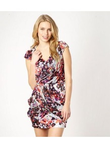 Purple Blossom Printed Wrap Dress - length: mini; neckline: low v-neck; sleeve style: capped; fit: fitted at waist; style: blouson; bust detail: ruching/gathering/draping/layers/pintuck pleats at bust; occasions: evening; fibres: polyester/polyamide - stretch; hip detail: soft pleats at hip/draping at hip/flared at hip; predominant colour: multicoloured; sleeve length: sleeveless; pattern type: fabric; pattern size: big & busy; pattern: florals; texture group: jersey - stretchy/drapey