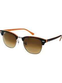 New Clubmaster Sunglasses - secondary colour: bright orange; predominant colour: chocolate brown; occasions: casual, holiday; style: d frame; size: standard; material: plastic/rubber; pattern: tortoiseshell; finish: plain