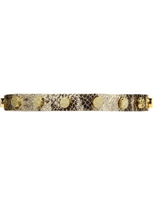 Leather Wrist Cuff, Metallic - predominant colour: champagne; occasions: casual, evening, occasion; style: cuff; size: small; material: leather; trends: metallics; finish: metallic; embellishment: studs