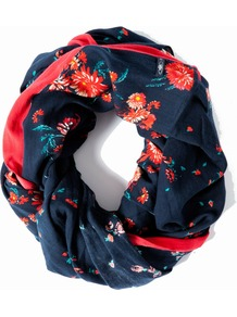 Varoni Cowl, Navy - predominant colour: navy; secondary colour: coral; occasions: casual; type of pattern: light; style: snood; size: standard; material: fabric; pattern: florals
