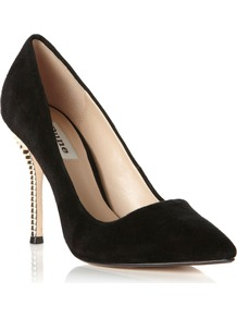 Amazeball Court Shoes, Black - secondary colour: silver; predominant colour: black; occasions: evening, work, occasion; material: suede; heel height: high; heel: stiletto; toe: pointed toe; style: courts; finish: plain; pattern: plain; embellishment: chain/metal