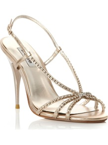 Heir Simple Diamante Sandals, Gold - predominant colour: gold; occasions: evening, occasion; material: leather; heel height: high; embellishment: crystals; heel: stiletto; toe: open toe/peeptoe; style: strappy; finish: metallic; pattern: plain