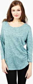 Marl Jumper - neckline: round neck; pattern: plain; length: below the bottom; style: standard; predominant colour: pale blue; occasions: casual; fibres: polyester/polyamide - mix; fit: loose; sleeve length: long sleeve; sleeve style: standard; texture group: knits/crochet; pattern type: knitted - fine stitch