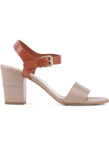 Tracy 70 Leather Sandals - secondary colour: taupe; predominant colour: stone; occasions: casual, evening, holiday; material: leather; heel height: mid; ankle detail: ankle strap; heel: block; toe: open toe/peeptoe; style: standard; finish: plain; pattern: plain