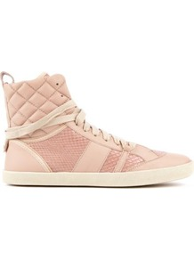 Michelle Leather Hi Top Trainers - predominant colour: blush; occasions: casual; material: leather; heel height: flat; embellishment: quilted; toe: round toe; style: trainers; finish: plain; pattern: diamonds; secondary colour: dusky pink