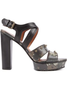 Dries Leather Platform Sandals - secondary colour: khaki; predominant colour: black; occasions: evening, occasion, holiday; material: leather; embellishment: studs; ankle detail: ankle strap; heel: platform; toe: open toe/peeptoe; style: strappy; finish: plain; pattern: paisley; heel height: very high
