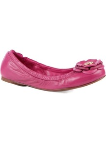 Reva Leather Pumps - predominant colour: hot pink; occasions: casual, evening, work, holiday; material: leather; heel height: flat; toe: round toe; style: ballerinas / pumps; finish: plain; pattern: plain; embellishment: corsage