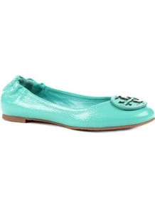 Reva Textured Patent Leather Pumps - predominant colour: mint green; occasions: casual, evening, work, holiday; material: leather; heel height: flat; toe: round toe; style: ballerinas / pumps; trends: fluorescent; finish: patent; pattern: plain
