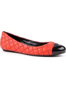 Katlin Quilted Leather Pumps - predominant colour: bright orange; secondary colour: black; occasions: casual, evening, work; material: leather; heel height: flat; embellishment: quilted; toe: round toe; style: ballerinas / pumps; finish: plain; pattern: colourblock
