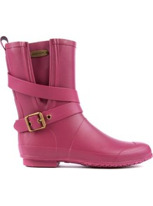 Brainmid Wellies - predominant colour: hot pink; occasions: casual; material: plastic/rubber; heel height: flat; embellishment: buckles; heel: block; toe: round toe; boot length: mid calf; style: wellies; finish: plain; pattern: plain