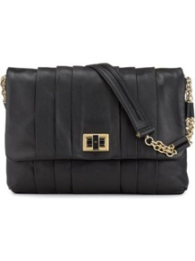 Gracie Shoulder Bag - predominant colour: black; occasions: casual, evening, work; type of pattern: standard; style: shoulder; length: shoulder (tucks under arm); size: standard; material: leather; pattern: plain; finish: plain; embellishment: chain/metal