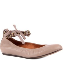 Nimoy Erl Leather Pumps - predominant colour: nude; occasions: casual, evening, work, holiday; material: leather; heel height: flat; ankle detail: ankle tie; toe: round toe; style: ballerinas / pumps; finish: plain; pattern: plain; embellishment: chain/metal