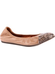 Peep Pit Leather And Snakeskin Pumps - predominant colour: nude; occasions: casual; material: leather; heel height: flat; toe: round toe; style: ballerinas / pumps; finish: plain; pattern: animal print; embellishment: toe cap