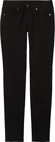 Women Colour Skinny Fit Tapered Jeans 09 Black - style: skinny leg; length: standard; pattern: plain; waist: low rise; pocket detail: traditional 5 pocket; predominant colour: black; occasions: casual, evening; fibres: cotton - stretch; texture group: denim; pattern type: fabric