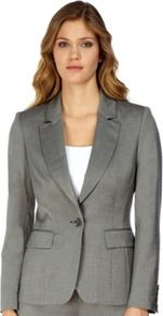 Grey Sharkskin Effect Jacket - pattern: plain; style: single breasted blazer; collar: standard lapel/rever collar; predominant colour: charcoal; occasions: evening, work; length: standard; fit: tailored/fitted; fibres: wool - stretch; sleeve length: long sleeve; sleeve style: standard; collar break: medium; pattern type: fabric; texture group: other - light to midweight