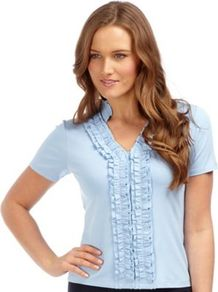 Sky Blue Ruffle Front Jersey Top - neckline: v-neck; pattern: plain; bust detail: ruching/gathering/draping/layers/pintuck pleats at bust; predominant colour: pale blue; occasions: casual, work; length: standard; style: top; fibres: viscose/rayon - stretch; fit: body skimming; sleeve length: short sleeve; sleeve style: standard; pattern type: fabric; texture group: jersey - stretchy/drapey