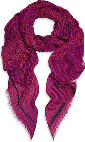 Croc Scarf - predominant colour: hot pink; secondary colour: purple; occasions: casual, evening, work, occasion; type of pattern: light; style: regular; size: large; material: fabric; embellishment: fringing; trends: statement prints; pattern: patterned/print