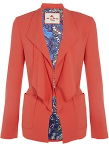 Waterfall Collar Jacket - pattern: plain; style: single breasted blazer; hip detail: side pockets at hip; collar: shawl/waterfall; length: below the bottom; predominant colour: true red; occasions: casual, evening, work; fit: tailored/fitted; fibres: viscose/rayon - 100%; sleeve length: long sleeve; sleeve style: standard; texture group: crepes; collar break: low/open; pattern type: fabric
