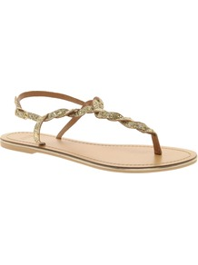Flash Flat Sandals With Glitter Detail - predominant colour: gold; occasions: casual, holiday; material: faux leather; heel height: flat; embellishment: glitter; ankle detail: ankle strap; heel: standard; toe: toe thongs; style: flip flops / toe post; trends: metallics; finish: metallic; pattern: plain